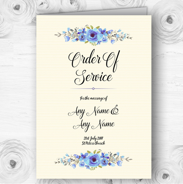 Watercolour Blue Floral Rustic Wedding Double Sided Cover Order Of Service