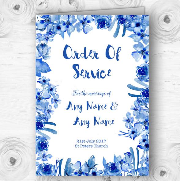 Watercolour Indigo Blue Floral Wedding Double Sided Cover Order Of Service
