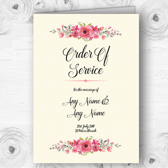 Watercolour Pink Floral Rustic Wedding Double Sided Cover Order Of Service