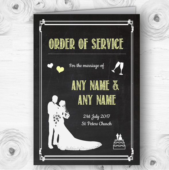 Chalkboard Yellow Personalised Wedding Double Sided Cover Order Of Service