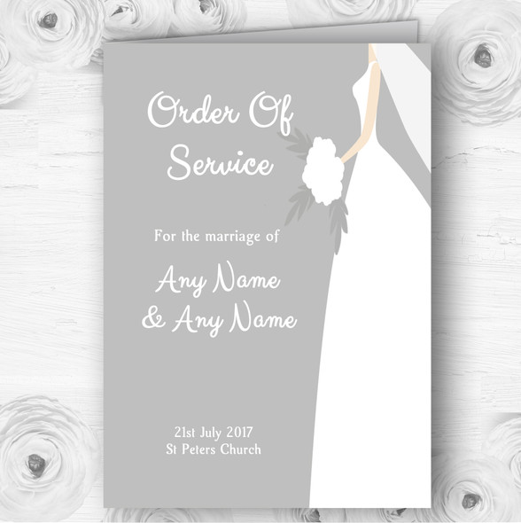 Great White Bride Personalised Wedding Double Sided Cover Order Of Service