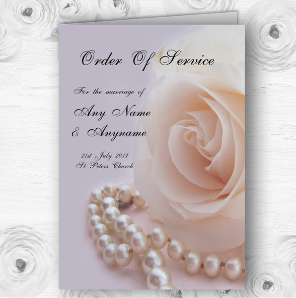 Lilac Rose Pearls Personalised Wedding Double Sided Cover Order Of Service