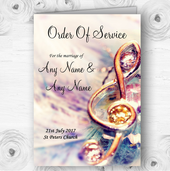 Music Treble Clef Personalised Wedding Double Sided Cover Order Of Service