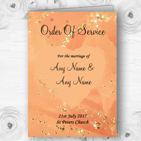 Peach Gold Pretty Personalised Wedding Double Sided Cover Order Of Service