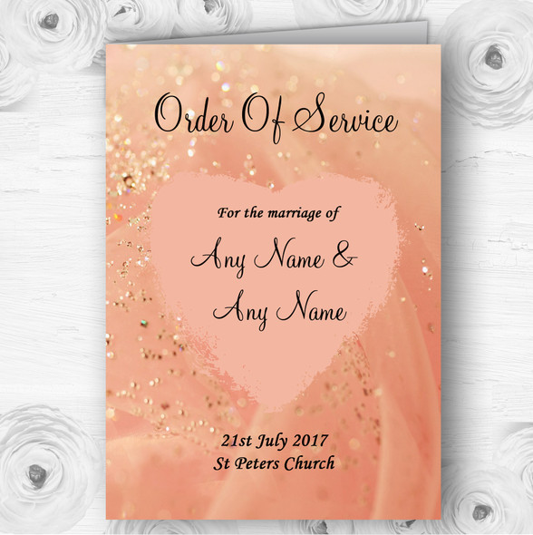 Peach Pink Pretty Personalised Wedding Double Sided Cover Order Of Service