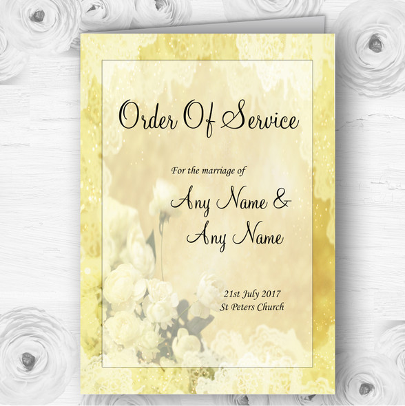 Yellow Cream Lace Personalised Wedding Double Sided Cover Order Of Service