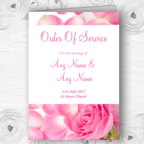 Pink Rose Petals Personalised Wedding Double Sided Cover Order Of Service
