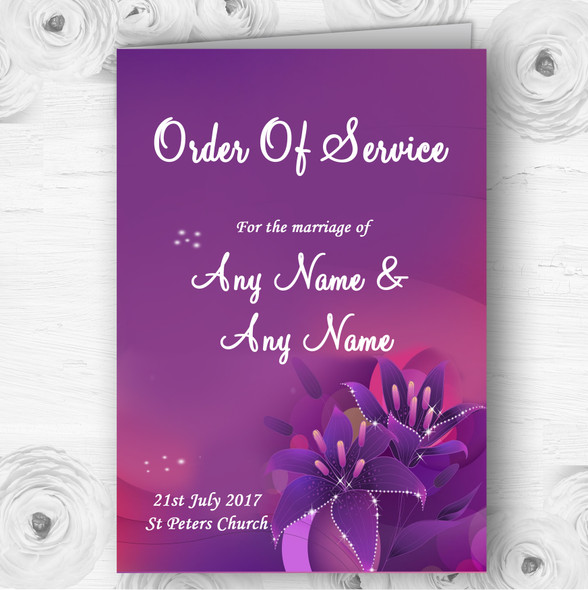Purple Pink Lily Personalised Wedding Double Sided Cover Order Of Service