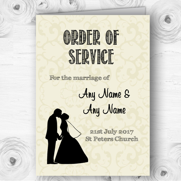 Traditional Chic Personalised Wedding Double Sided Cover Order Of Service