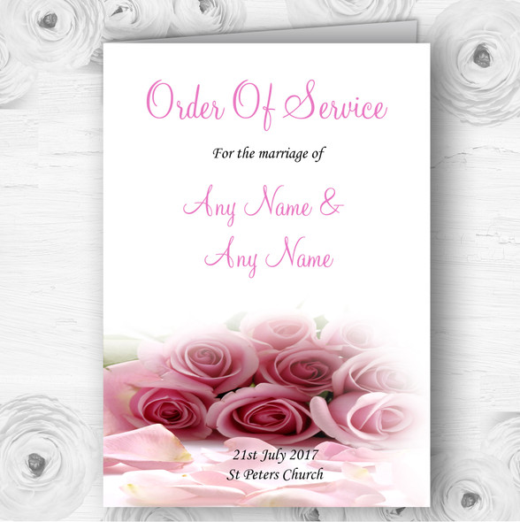 Baby Pink Roses Personalised Wedding Double Sided Cover Order Of Service