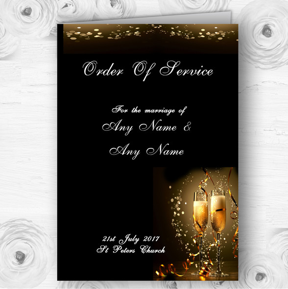 Black Champagne Personalised Wedding Double Sided Cover Order Of Service