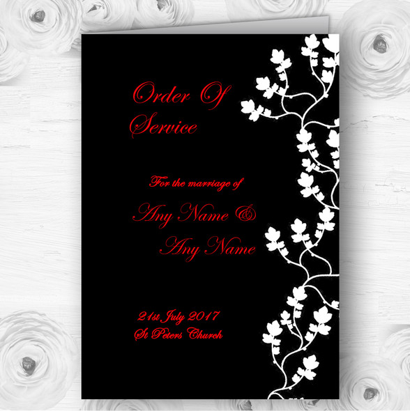 Black White Red Personalised Wedding Double Sided Cover Order Of Service