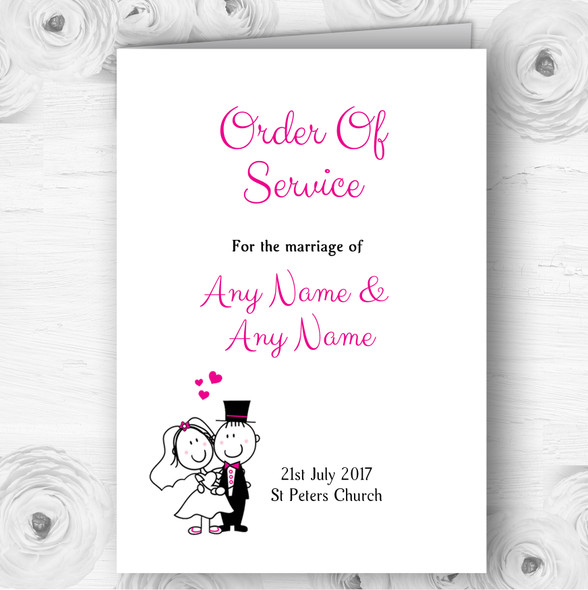 Bride And Groom Personalised Wedding Double Sided Cover Order Of Service
