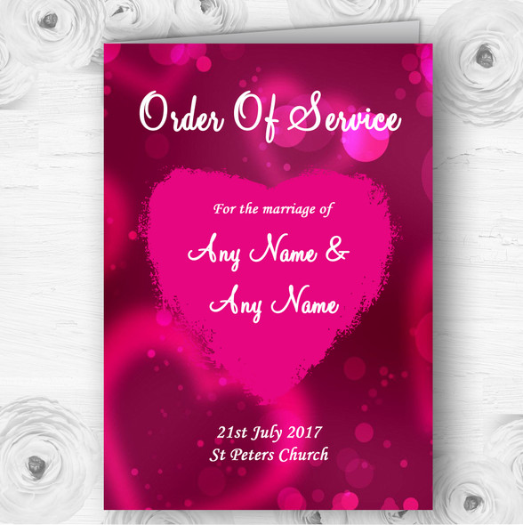 Hot Pink Hearts Personalised Wedding Double Sided Cover Order Of Service