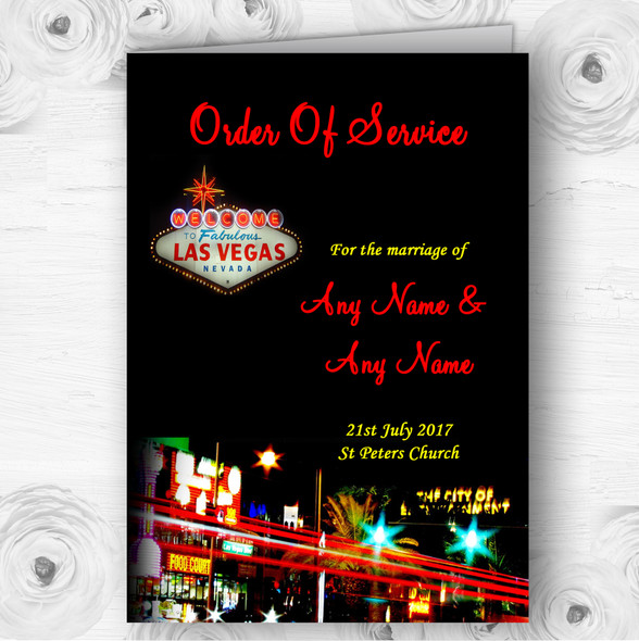 Las Vegas Strip Personalised Wedding Double Sided Cover Order Of Service