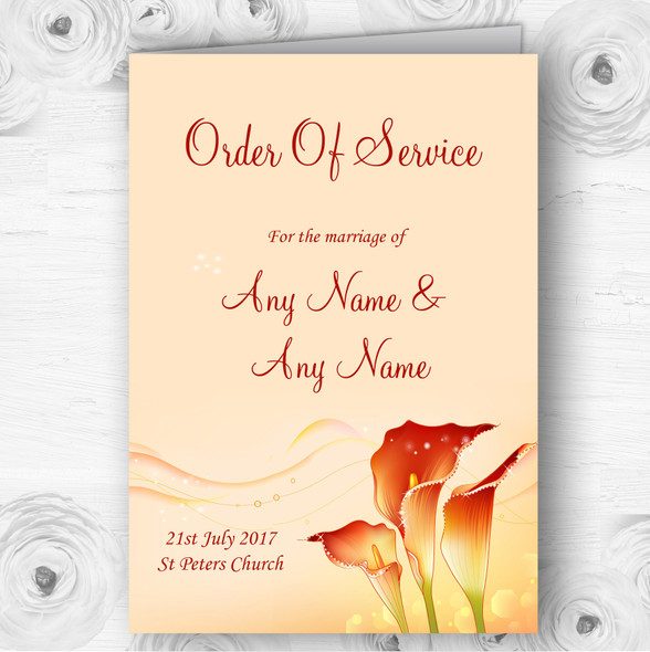 Red Orange Lily Personalised Wedding Double Sided Cover Order Of Service