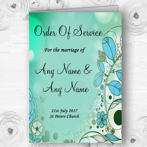 Aqua Turquoise Personalised Wedding Double Sided Cover Order Of Service
