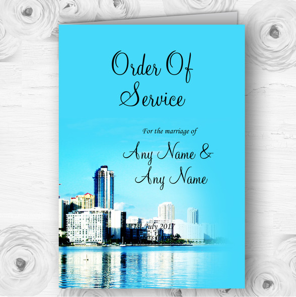 Miami Florida Personalised Wedding Double Sided Cover Order Of Service