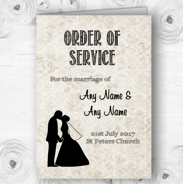 Damask Chic Personalised Wedding Double Sided Cover Order Of Service