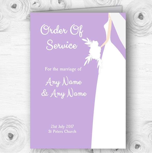 Lilac Bride Personalised Wedding Double Sided Cover Order Of Service