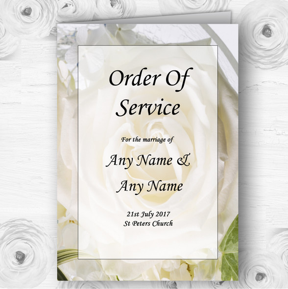 White Rose Personalised Wedding Double Sided Cover Order Of Service