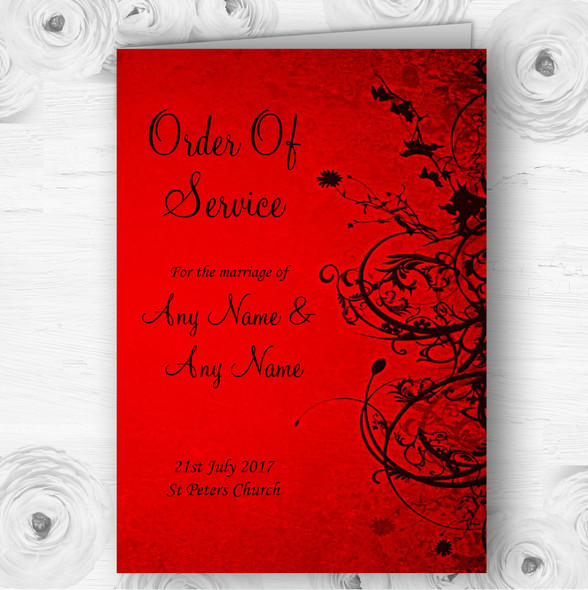 Red Flare Personalised Wedding Double Sided Cover Order Of Service