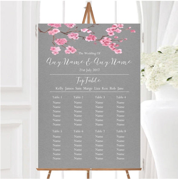 Rustic Vintage Dark Grey & Pink Blossom Personalised Wedding Seating Table Plan