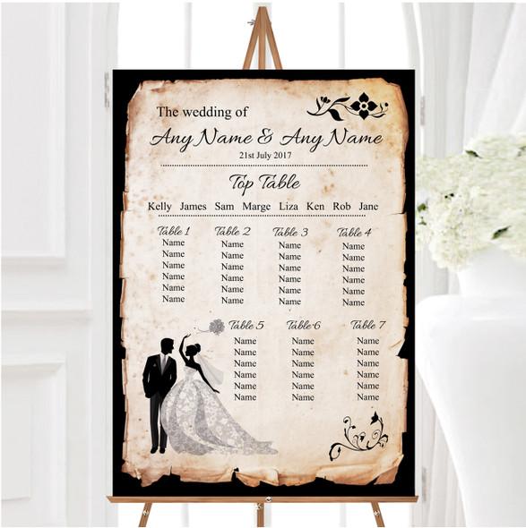 Black White Vintage Rustic Postcard Personalised Wedding Seating Table Plan