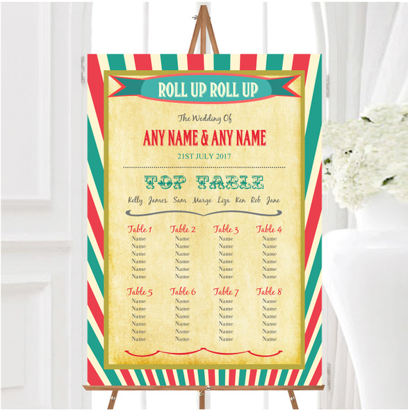 Vintage Carnival Old Style Circus Personalised Wedding Seating Table Plan
