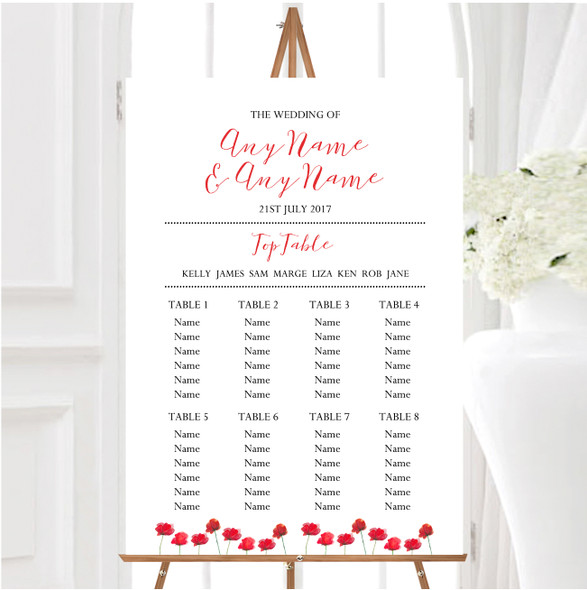 Stunning Watercolour Poppies Red Personalised Wedding Seating Table Plan