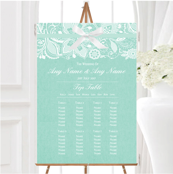 Vintage Mint Green Burlap & Lace Personalised Wedding Seating Table Plan
