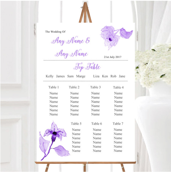 Beautiful Cadbury Purple Watercolour Flowers Wedding Seating Table Plan
