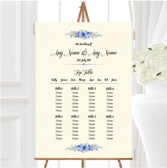 Watercolour Blue Floral Rustic Personalised Wedding Seating Table Plan