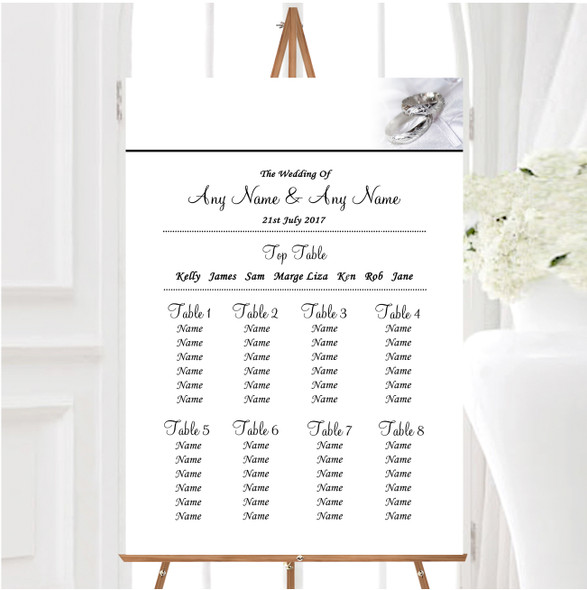 Classy White And Silver Rings Personalised Wedding Seating Table Plan