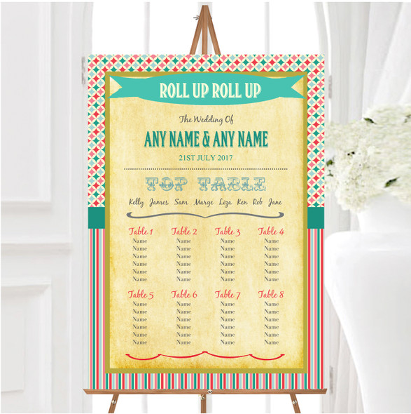 Vintage Carnival Old Style Circus Stripes Wedding Seating Table Plan