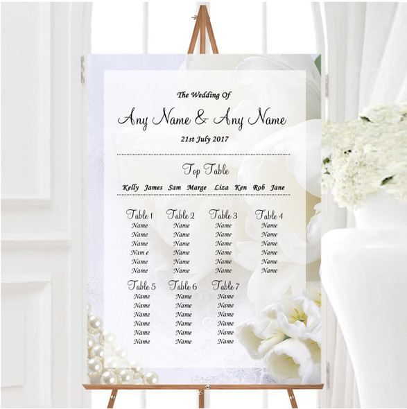 White Rose And Romantic Lace Personalised Wedding Seating Table Plan