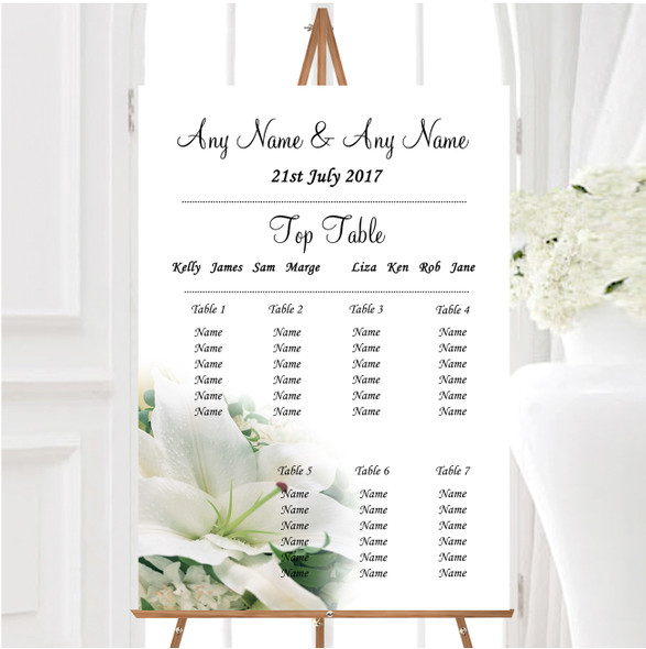 Classy White Lily Pretty Personalised Wedding Seating Table Plan