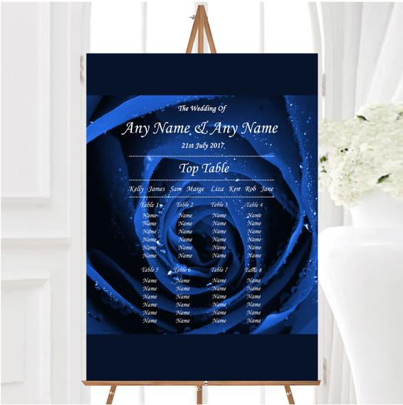 Stunning Royal Blue Rose Personalised Wedding Seating Table Plan