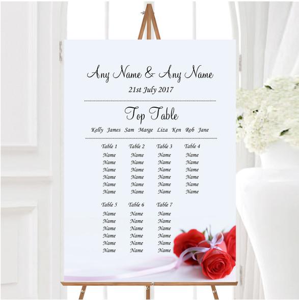 Red Rose & White Ribbon Personalised Wedding Seating Table Plan