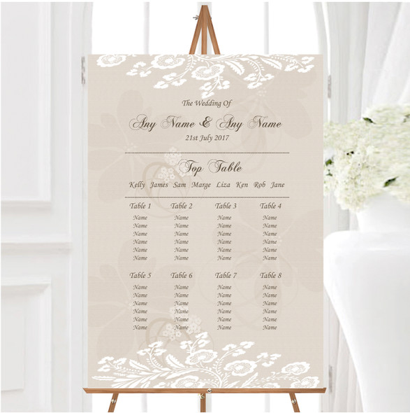 Vintage Lace Beige Chic Personalised Wedding Seating Table Plan