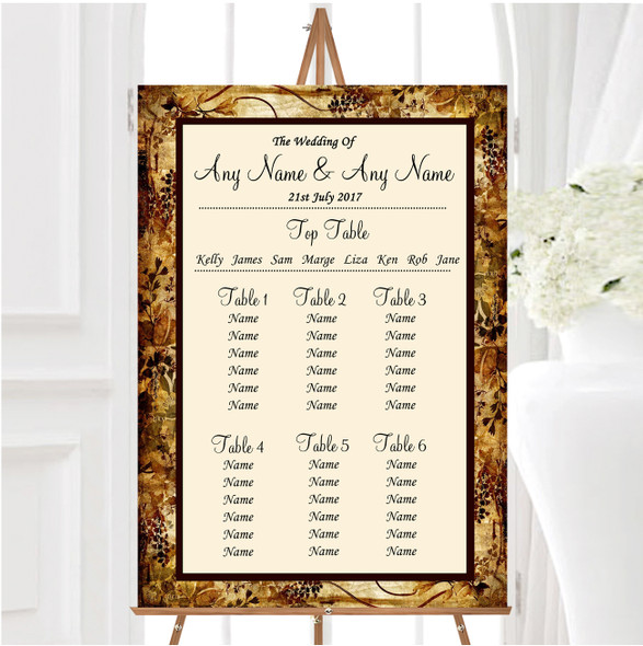 Autumn Colours Vintage Personalised Wedding Seating Table Plan