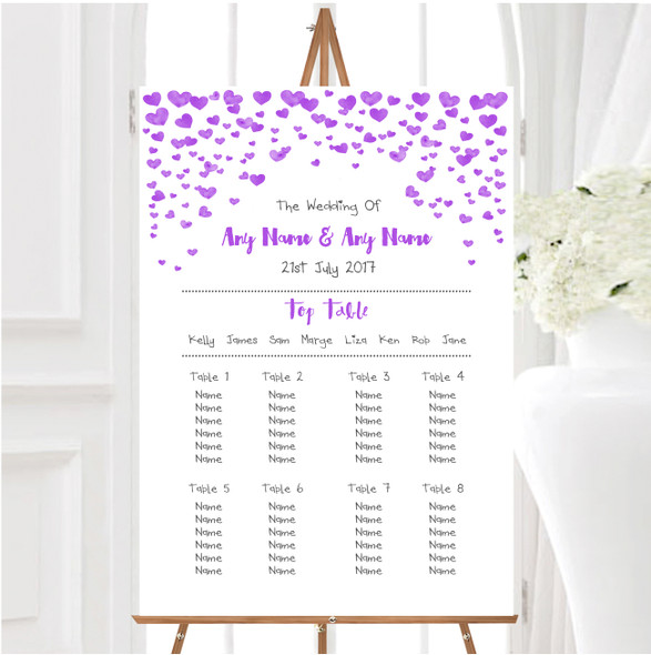 Purple Heart Confetti Personalised Wedding Seating Table Plan