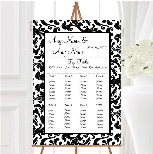 Black & White Damask Personalised Wedding Seating Table Plan