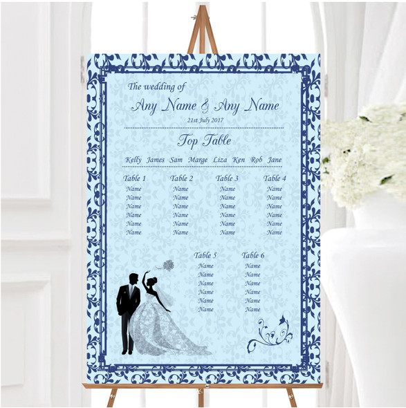 Blue Classic Vintage Personalised Wedding Seating Table Plan
