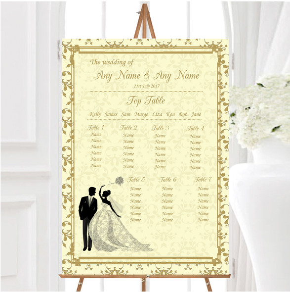 Gold Yellow Classic Personalised Wedding Seating Table Plan