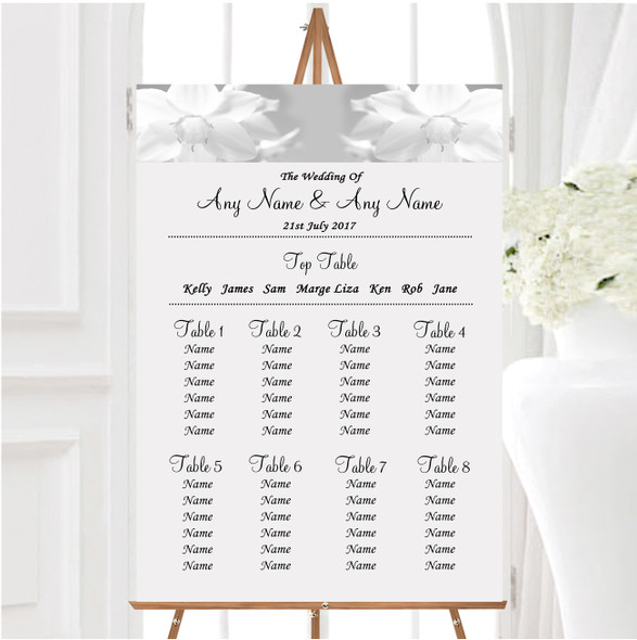 Grey White Daffodil Personalised Wedding Seating Table Plan