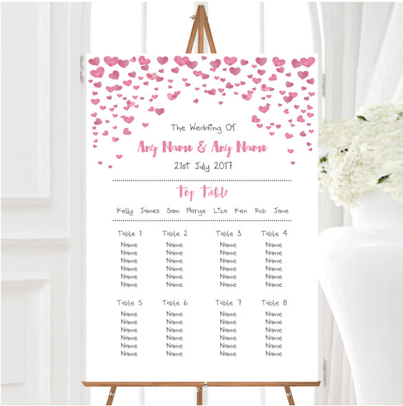 Pink Heart Confetti Personalised Wedding Seating Table Plan