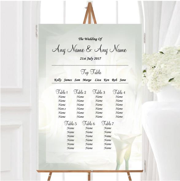 White Lily Stunning Personalised Wedding Seating Table Plan