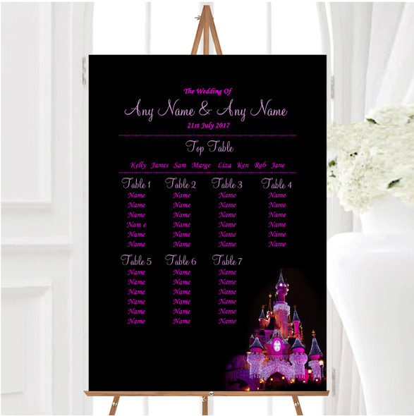 Pink Disney Castle Personalised Wedding Seating Table Plan