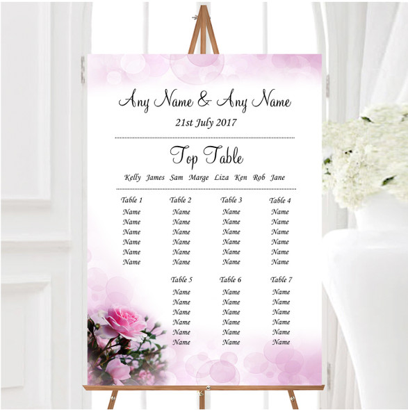 Pink Rose Bubbles Personalised Wedding Seating Table Plan
